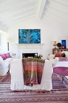 Single-story ranch house with boho accents.