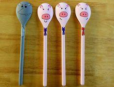 Spoon puppets 3 Little Pigs Painted Spoons, Wooden Spoons, Creative Activities, Preschool Activities, Preschool Literacy, Preschool Lessons, Language Activities, Three Little Pigs Story, Dyi
