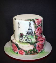 ''Sending roses from Paris''- Hand painted - Cake by Olanuta Alexandra Gorgeous Cakes, Pretty Cakes, Cute Cakes, Amazing Cakes, Paris Themed Cakes, Paris Cakes, Fondant Cakes, Cupcake Cakes, Parisian Cake