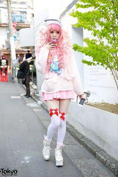 Pink Hair, Pink Fashion, Amazing Nails Knee Socks in Harajuku