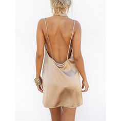Apricot Deep V Neck Open Back Satin Cami Dress ❤ liked on Polyvore featuring dresses, deep v neck dress, beige dress, deep v neck cami, satin deep v neck dress and satin dress