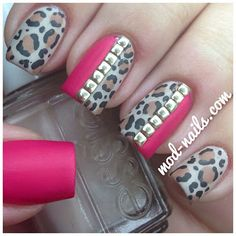 Image uploaded by Nail Art Decals. Find images and videos about nails, nail art and nail design on We Heart It - the app to get lost in what you love. Matte Nails, Pink Nails, Gorgeous Nails, Pretty Nails, Amazing Nails, Cheetah Nails, Pink Leopard, Leopard Spots, Studded Nails