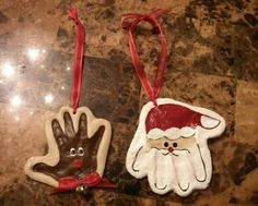 Salt dough handprints Santa and Rudolph!   made by Jaime Schultz.     Dough:  1 cup flour, 1/2 cup salt, 1/2 cup water.  Poke hole for ribbon and prick dough so no bubbles form.  Bake 350° for 30 mins. NOTE: Try not to make too thick because they will be heavy.