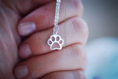 Paw Print Necklace - Sterling Silver Openwork Charm - Free Domestic Shipping