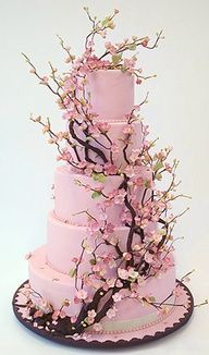 Cherry blossom wedding cake. This would be beautiful if the cake icing was white