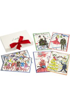Encased in a ribbon-tied box, Lanvin's beautifully illustrated set of 10 cards makes for a lovely festive memento.
