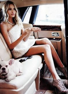 One of my favorite shoots. Russian Tattler. Photo Arthur Elgort. Makeup Elaine Madelon. In a VERY fancy car in front of the Plaza in NYC.  COLD day...dog was rented. Hana is as beautiful as ever.