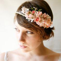pink flower crown 'FOLKLORE' bridal hair, wedding accessory.
