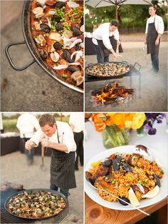 paella-on-open-grill-for-wedding: mussles, chorizo, crab meat, chicken