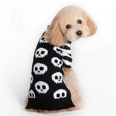 Skull Knitted Halloween Dog Costume - Skullflow    https://www.skullflow.com/collections/halloween-costumes/products/halloween-dog-costume