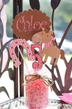 Love this but cupcake theme instead for Hannahs birthday Horse Birthday Parties, Cowgirl Birthday, Farm Birthday, Birthday Party Themes, Birthday Ideas, Cowboy Party, Horse Party, Pony Party, Festa Toy Story