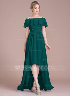 A-Line/Princess Off-the-Shoulder Asymmetrical Chiffon Bridesmaid Dress With Cascading Ruffles (007104702)