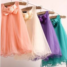NEW Girls Kids Rose Chiffon Princess Dancing Party Gown Formal Dress Candy Color US $5.79