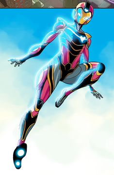 """lucianovecchio: """"Riri WIlliams IRONHEART issue 5 is out today!Rounding up our first arc.By writer Eve Ewing artist Luciano Vecchio layout artist Geoffo Panda and color artist Matt Milla """" Female Superheroes And Villains, Drawing Superheroes, Superhero Characters, Hero Academia Characters, Marvel Art, Marvel Heroes, Marvel Movies, Iron Heart Marvel, Iron Man Art"""