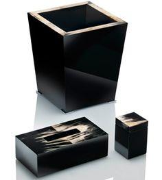 arca bin wastepaper basket small square box rectangular tissue box dark horn black lacquer bathroom accessory bedroom decorative harlequin london