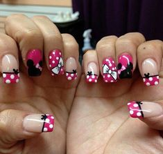 23 Disney Nail Art Designs - Madame Hairstyles - Minnie Mouse girl Minnie Mouse girl Minnie Mouse girl Welcome to our website, We hope you are satis - Ongles Mickey Mouse, Minnie Mouse Nails, Mickey Nails, Pink Minnie, Nail Art Disney, Disney Nail Designs, Cute Nail Designs, Disney Bows, Disney Mickey