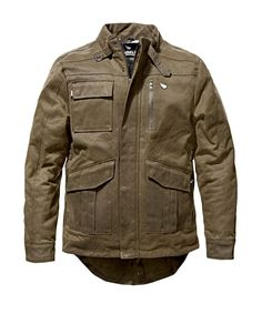 """SAINT """"Adventure Waxed Jacket"""": waxed cotton jacket with Dyneema® UHMWPE & D3O armour- order now at 24Helmets.de!"""