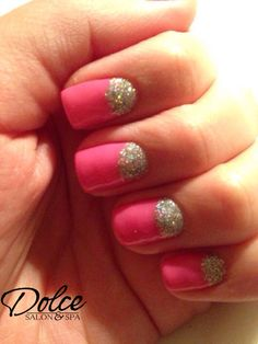 Pink & sparkly from Jai at our Lincoln location! #halfmoons #glitter #girly #nailart #notd #nailsnailnails #pink #dolcesalonspa