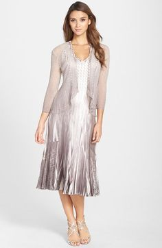 Komarov Lace Trim Charmeuse Dress & Chiffon Jacket available at #Nordstrom