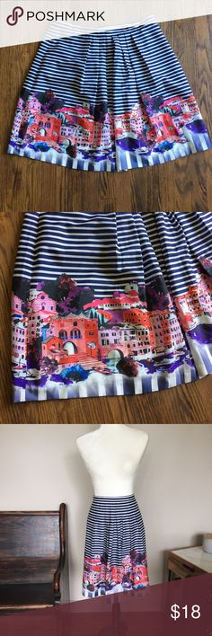 """Boston Proper Cityscape A-Line Skirt Measurements:  Waist: 39"""" Length: 23""""  Details: Pockets! Zipper and button in back.  Fabric: Shell: 100% polyester. Lining: 100% Acetate  Bundle discount: 2 + items for 20% off!  Follow our store on Facebook, Twitter, Etsy and Instagram: @wingdingpop #AC Boston Proper Skirts A-Line or Full"""