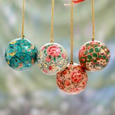 Novica Set of 4 Handcrafted Papier Mache 'Christmas Joy' Ornaments