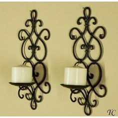 Decorative Black Wrought Iron Candle Wall Sconce Set