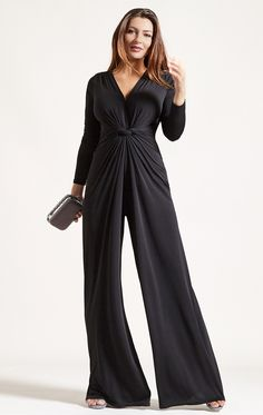 Palazzo Black Jumpsuit For Busty Women. Palazzo Jumpsuit in Black is your go-to easy-to-wear cocktail party to dinner saviour. Bringing back some playful 30s glamour, this is a truly comfortable style that you'll love to wear. The combination of colour, long sleeves and draping details elongate the figure and slim the silhouette to suit all curvy and big busty figures. With the look and feel of a maxi-dress, you've got elegance contained in a striking look that's bound to bring you…