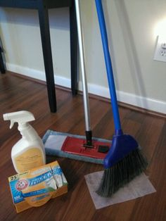 Cheap quick clean hardwood floors....good for dog hair clean up. 1st step use dryer sheets for bigger dirt and dog hair. (I use a broom so I don't have to get on my hands and knees) than a duster broom with hardwood floor cleaner. Its super quick and easy !