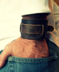 Mens Leather Bracelet Monogram Cuff Bracelet Groomsman Gifts Wide Band Custom Gift Grooms Gift Johnny Depp Style Cuff Bracelet Ω Leather Accessories, Leather Jewelry, Leather Bracelets, Leather Cuffs, Leather Men, Monogram Bracelet, Leather Projects, Bracelets For Men, Mens Fashion