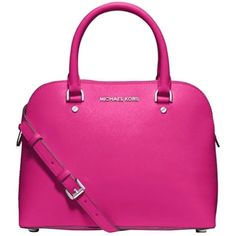 Pre-owned Michael Kors Nwt Cindy Medium Dome Pink Crossbody Raspberry... ($193) ❤ liked on Polyvore featuring bags, handbags, shoulder bags, raspberry pink, tablet shoulder bag, leather crossbody handbags, leather crossbody, leather crossbody purse and pink leather purse