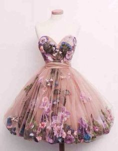 dress tulle skirt prom dress perfect beautiful flowers floral short poofy skirt perfect dress