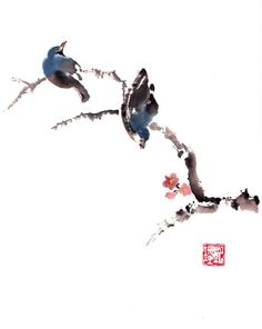 Two blue birds in early spring. Chinese brush painting, minimalist in design, in shades of blue and brown The piece is unmatted, mounted flat on white