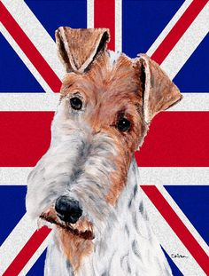 Wire Fox Terrier with English Union Jack British Flag 2-Sided Garden Flag