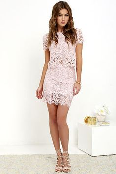 Turn Back Time Blush Pink Lace Two-Piece Dress at Lulus.com!  Too cute. Maybe a slightly longer skirt.