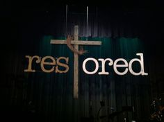 Easter set design - Lake City Community Church, Coeur d Alene, ID. Massive foam letters with 12' tall cross made from foam as well.(throw in a grapevine crown of thorns for good measure...!) Heat knives and several layers of gray/brown paint and voilà - the old rugged cross!