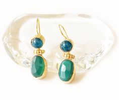 Blue and Green Agate Drop Gold Hammered by petracollection on Etsy