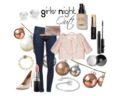 """""""Girls' night out outfit!"""" by babypinkchanel ❤ liked on Polyvore featuring DwellStudio, Frame Denim, Valentino, Bobbi Brown Cosmetics, Mikimoto, Chanel, Charles David, STELLA McCARTNEY and MAC Cosmetics"""