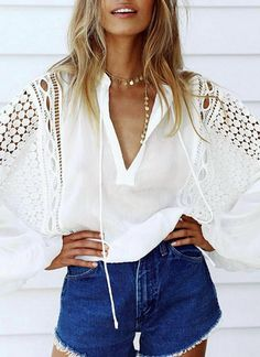 Search For Flights Jessicas Store Spring Autumn Women Novelty Sexy Hollow Out V-neck Tassel Embroidery Casual Loose Knitting Fabric Short Shirts Elegant Appearance Women's Clothing