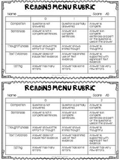 Reading Response Menus by Not So Wimpy Teacher Reading Help, Reading Response, Reading Centers, Reading Skills, Guided Reading, Teaching Reading, Reading Strategies Posters, Writing Strategies, Reading Resources