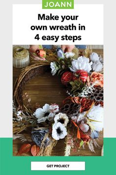 Show off your crafting skills to the whole neighborhood with this cool fall wreath for your front door! Pick your favorite fall accents and floral and arrange them around a grapevine wreath with floral wire and a hot glue gun! Fall Wreaths, Christmas Wreaths, Fall Home Decor, Holiday Decor, Make Your Own, Make It Yourself, Fall Lookbook, Fall Projects, Glue Gun