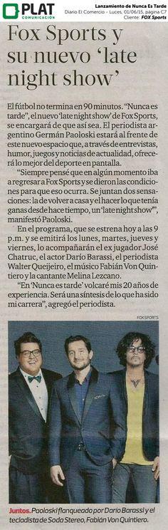 FOX Sports: Lanzamiento de Nunca es Tarde en el diario El Comercio de Perú (01/06/15)