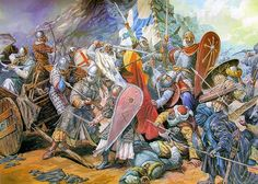 The Battle of Ourique (25 July 1139) First Portuguese King, Dom Afonso the Conqueror during the Reconquista in the 12th century battling the armies of five Muslim Kings