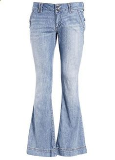 Womens Bootcut Denim Jeans Pants Retro 70s Flared Bell Leg Trousers Curvy US 8  Go to the website to read more description.