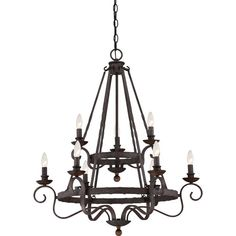 Classic and timeless Noble is a nod to European design. The speckled Rustic Black features many dark tones combined to create a roughly textured finish on the surface that highlights every mark of the hammered metal. The candelabra holders are made of solid wood and stained a dark walnut to coordinate with the overall theme of old world style and charm.