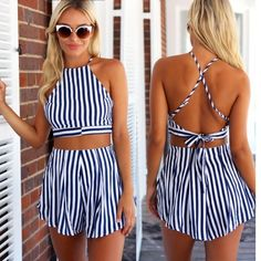 Women Fashion Casual Sexy Slim Two Pieces Sleeveless Strap Backless Short Crop Tops and Stripe Pleated Shorts Set