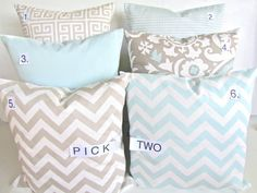 DECORATIVE PILLOWS Set Pick 2   TAN 18x18 Blue by SayItWithPillows, $34.95