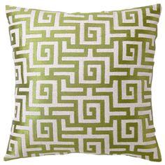 Greek Key Avocado Embroidered Linen Pillow @Zinc_Door