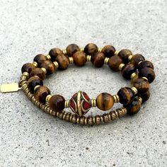 Tiger's Eye 27 Bead Wrist Mala Bracelet. #yoga #mala #tigerseye