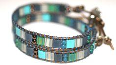 Blue and Green Double Wrap Leather Wrap Handmade Bracelet. 46.00, via Etsy.