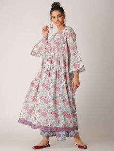 Pink-White Block-printed Cotton Kurta